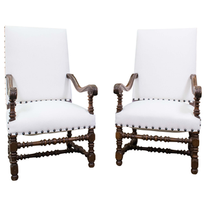 Antique Pair of Louis XIII Style Walnut Armchairs