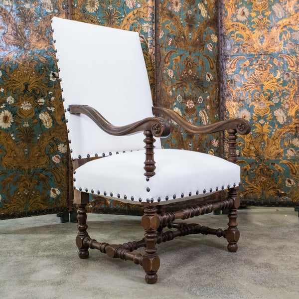Antique Louis XIII Style Walnut Armchairs