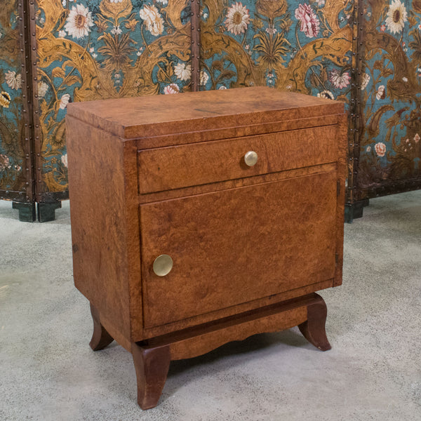 A Pair of French Art Deco Amboyna Wood Bedside Table