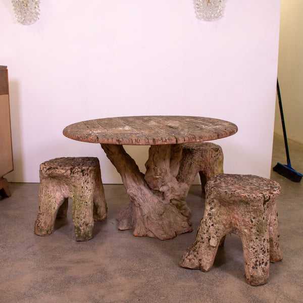 Terracotta Faux Bois Table and Three Stump Stools