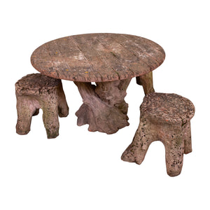 Terracotta Faux Boi Table and Three Stump Stools