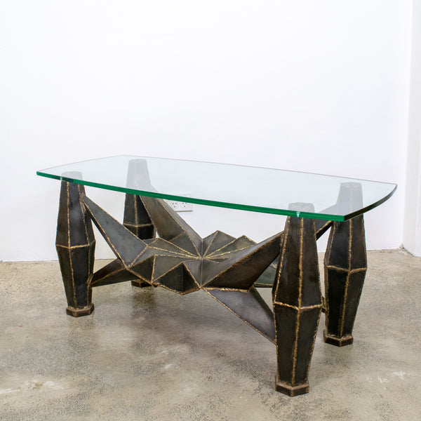 Metal brutalist coffee table with glass top