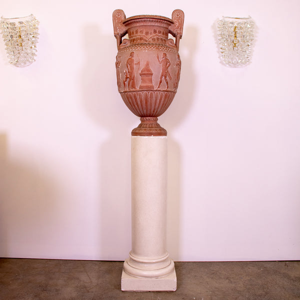 Neo Classical Terracotta Finish Urn and Plinth