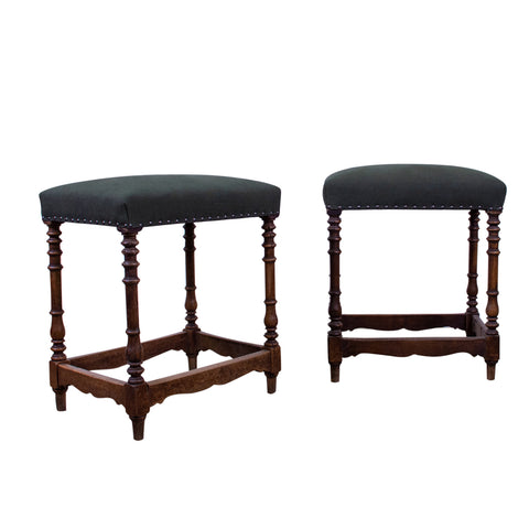 Near Pair of 19th Century Spanish Stools