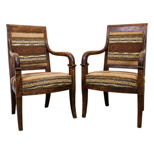 A Pair of French Empire Period Mahogany Armchairs