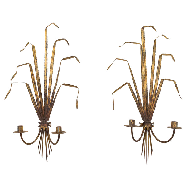 Pair of French Gilt-Metal Wall Sconces