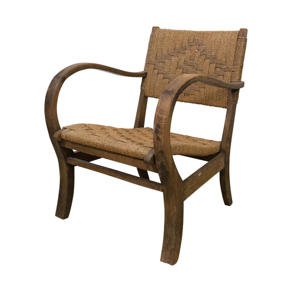 Art Deco German Oak and Rope Armchair