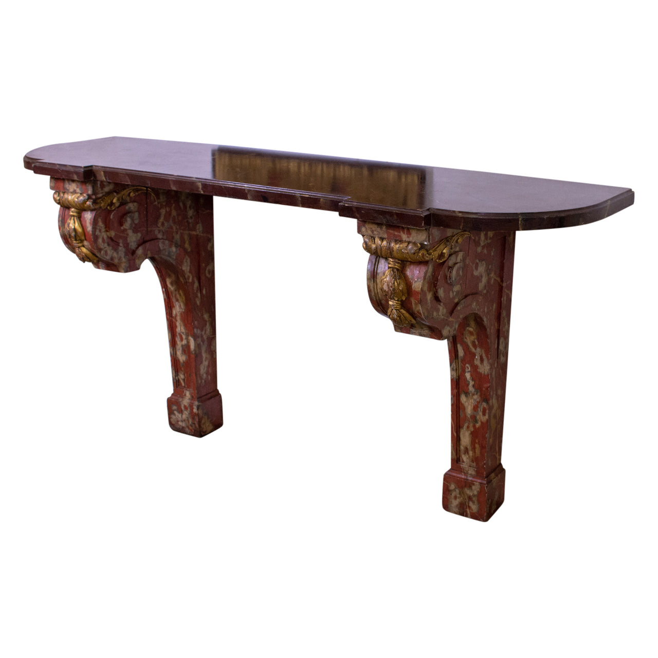 Louis XVI Style Faux Marble Console Table