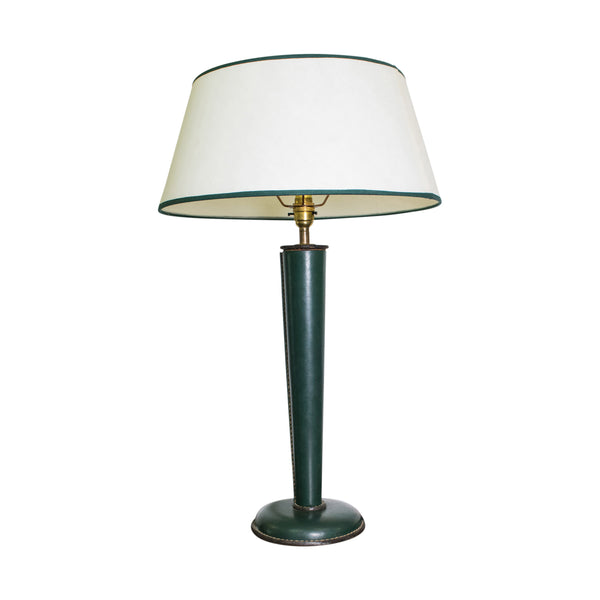 Green Leather Lamp Attributed to Jacques Adnet