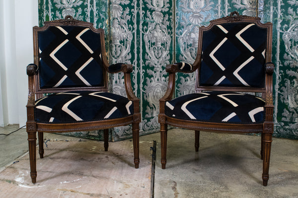 A Pair of Louis XVI Style Walnut Armchairs