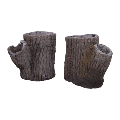 Pair of Faux Bois Tree Trunk Planters