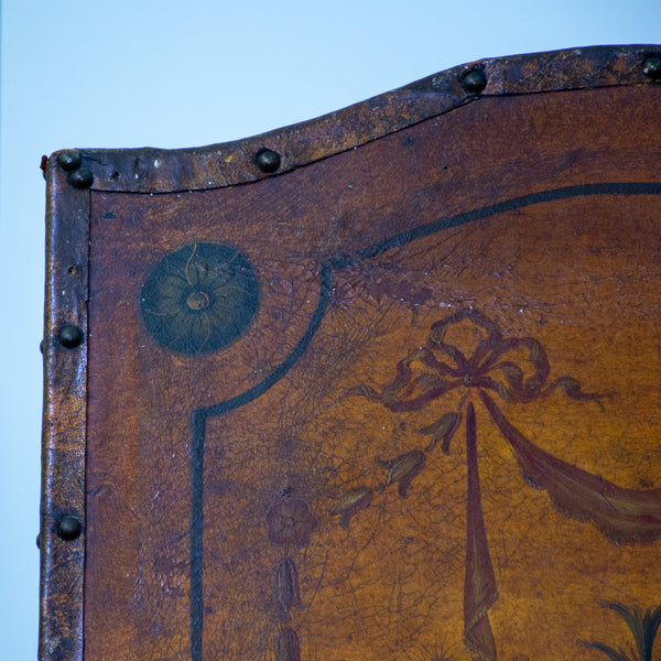 A 19th Century Neoclassical Four Panel Leather Screen