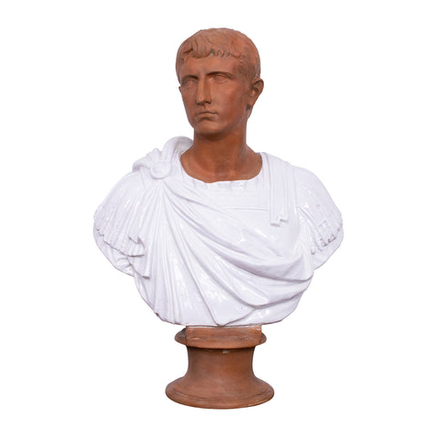 Italian Terracotta Portrait of First Roman Emperor Augustus as Octavianus