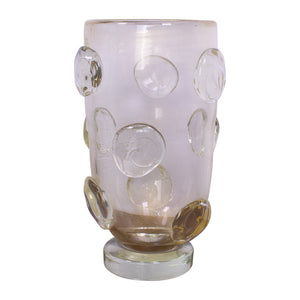 Murano Vase with gold inclusions and applied organic circles