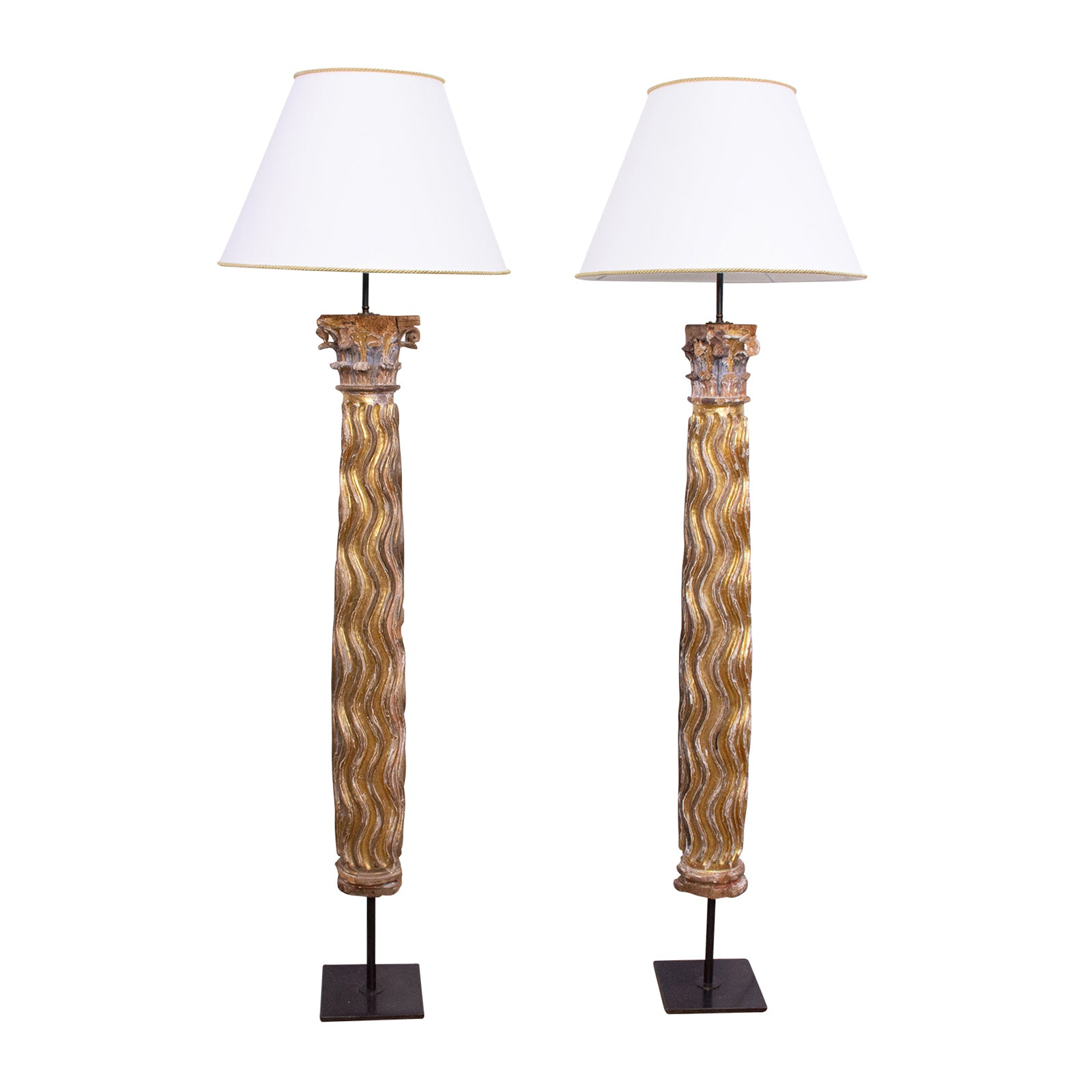 Pair of 18th Century Column Standard Lamps
