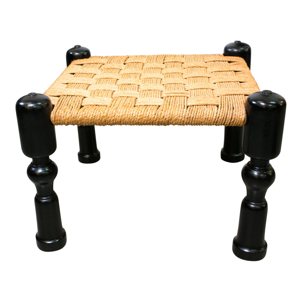 Ebonised Anglo-Indian Rope Foot Stools