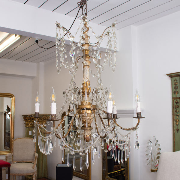 Italian Genovese carved giltwood, crystal and tole chandelier,