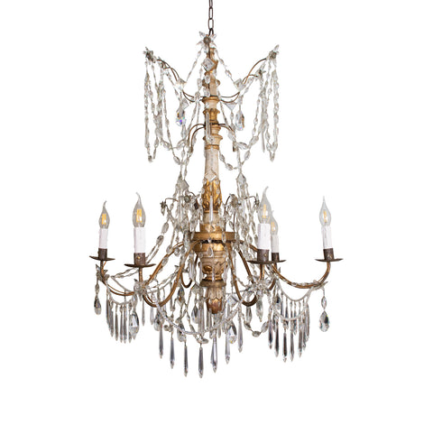 Late 19th Century Italian Genoese Giltwood and Crystal Chandelier