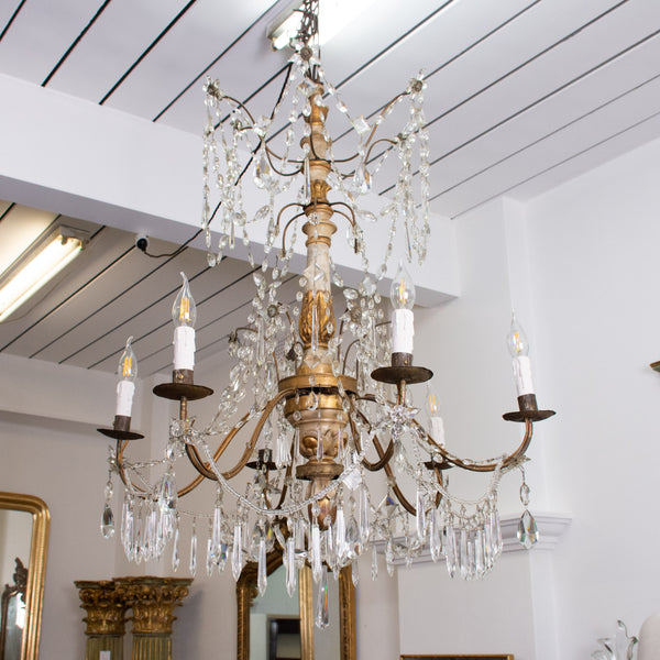 Italian Genovese carved giltwood, crystal and tole chandelier