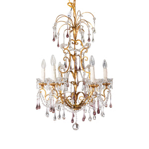 Italian Gilt, Crystal and Amethyst Chandelier