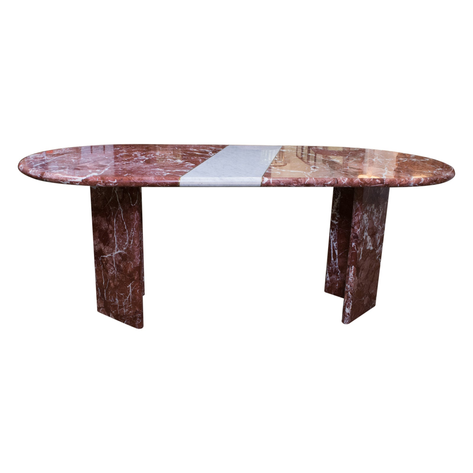 Oval Rosso Alcante Marble Dining Table