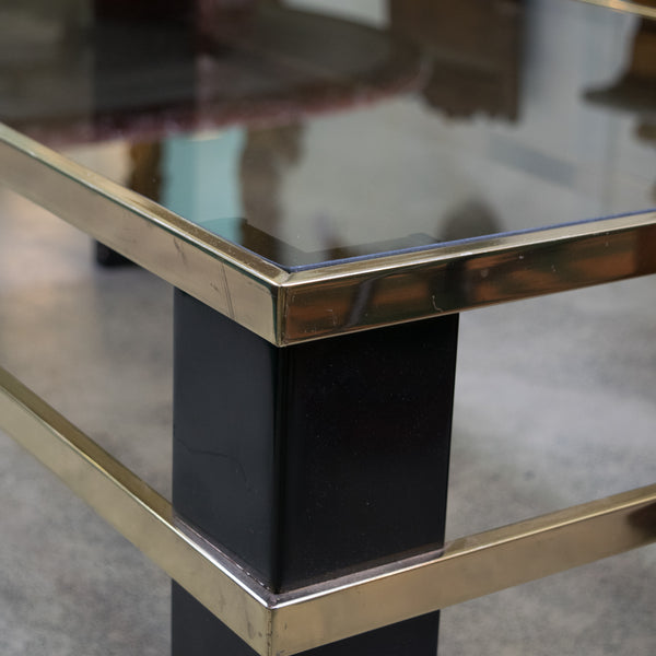 Italian Black Lacquer and Brass Coffee Table