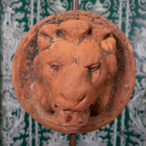 Pair of Antique Terracotta Lion Heads Spouts mounted as Lamps