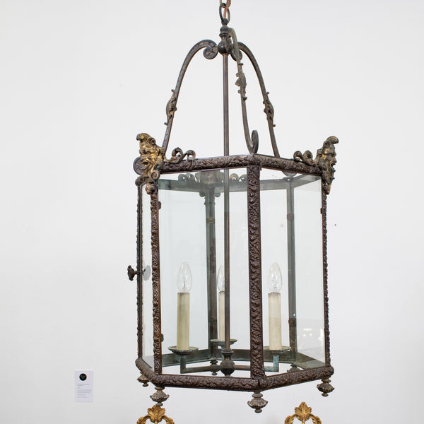 19th Century Louis XIV Style Repousse Brass and Ormolu Hexagonal Lantern