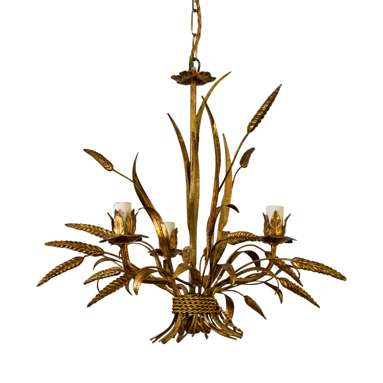 A Small Mid Century French Gilt-Metal Chandelier