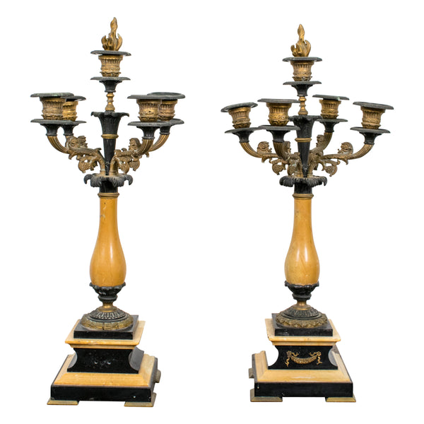 Pair Five Arm Charles X Candelabra