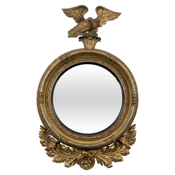 A Fine and Large Regency Giltwood Convex Mirror