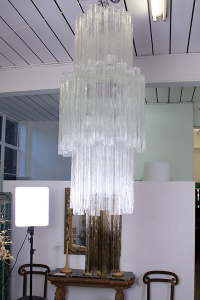 A Large Mid Century Venini Tronchi Waterfall Chandelier