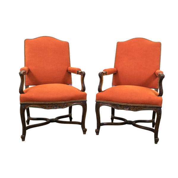 A Pair of 19th century French Walnut Regence Style Armchairs