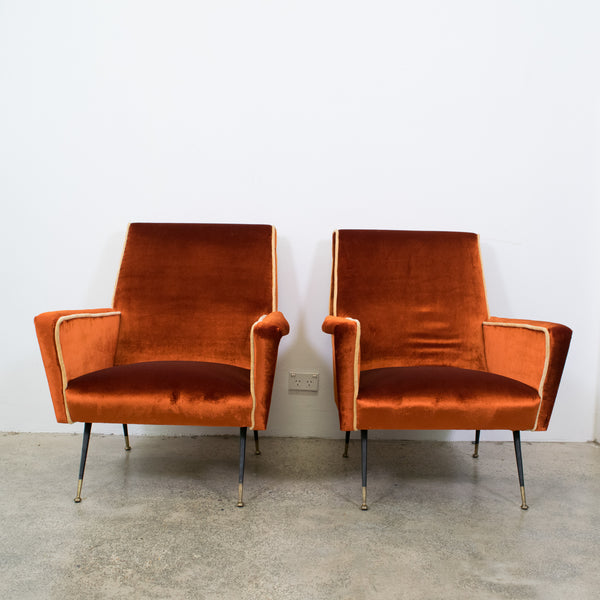 A Pair of Italian Mid-Century Club Chairs