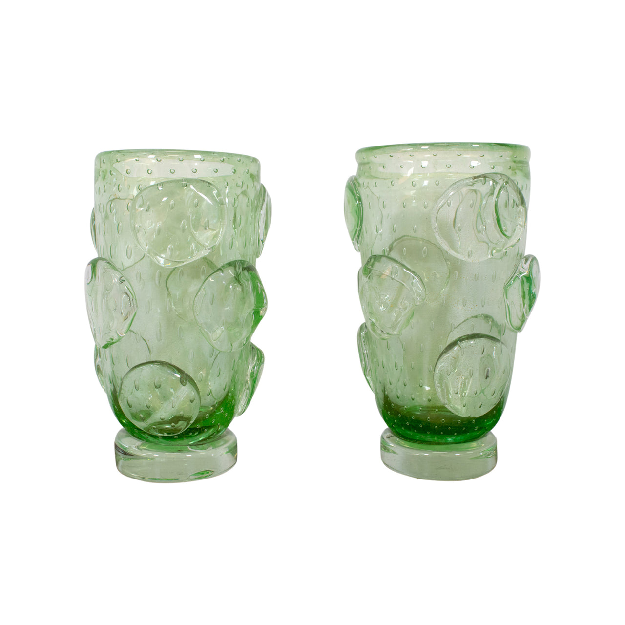 "Pair of Green ""Bullicante"" Murano Vases by Costantini Murano"
