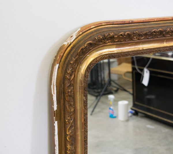Louis Phillippe Overmantel Gilt Gesso Mirror