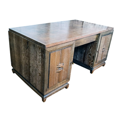 Cerused Oak Art Deco Desk Attributed to Charles Dudouyt (1885-1946)