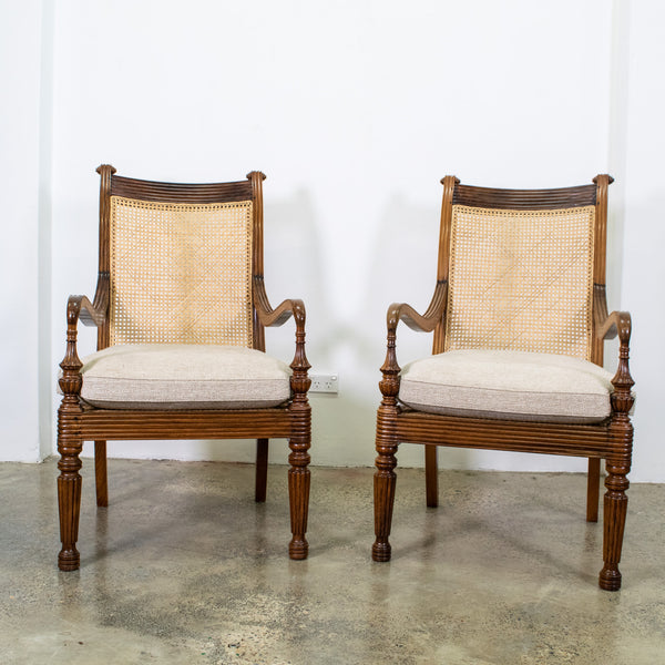 Pair of Anglo Indian Teak and Cane Library Chairs