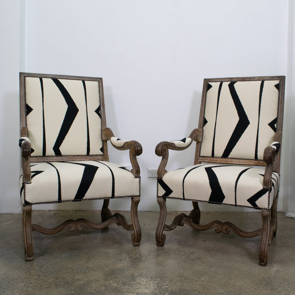 Pair of 19th Century French Lime Washed Armchairs