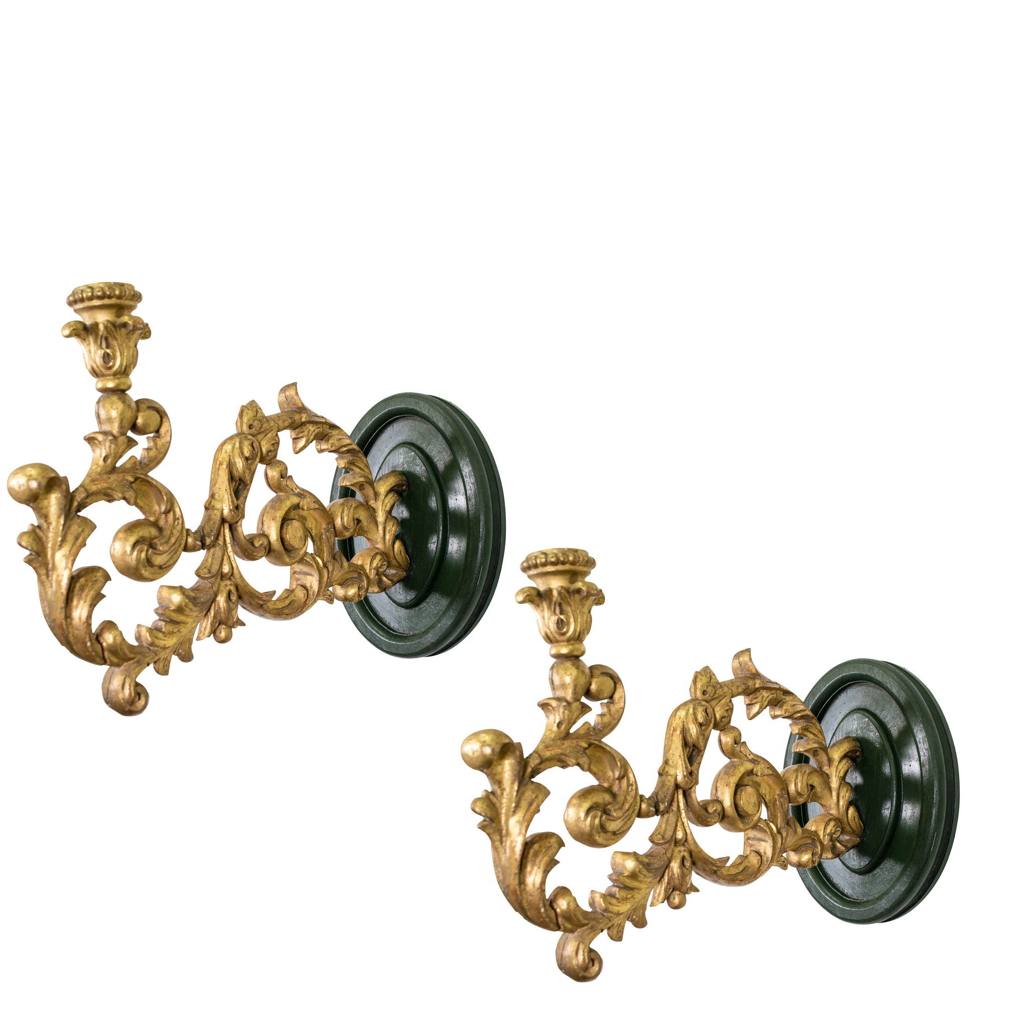 Pair 18th Century Italian Rococo Giltwood Candle Arms