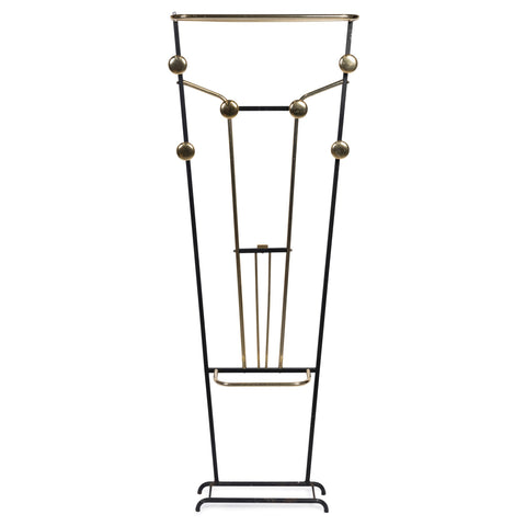 French Mid-Century Gilt Brass and Metal Hall Stand
