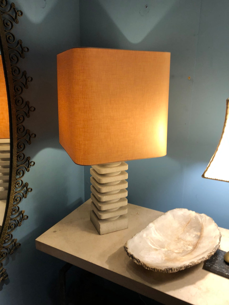 1970s Carved Stone Lamp