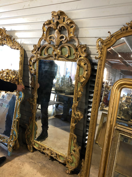 A substantial Louis XV Green and Gilt Mirror