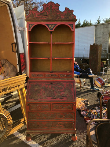 Red Chinoserie Lacquer Bureau Bookcase