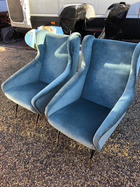 Pair of Italian Armchairs with Brass and black Glides with pale blue velvet