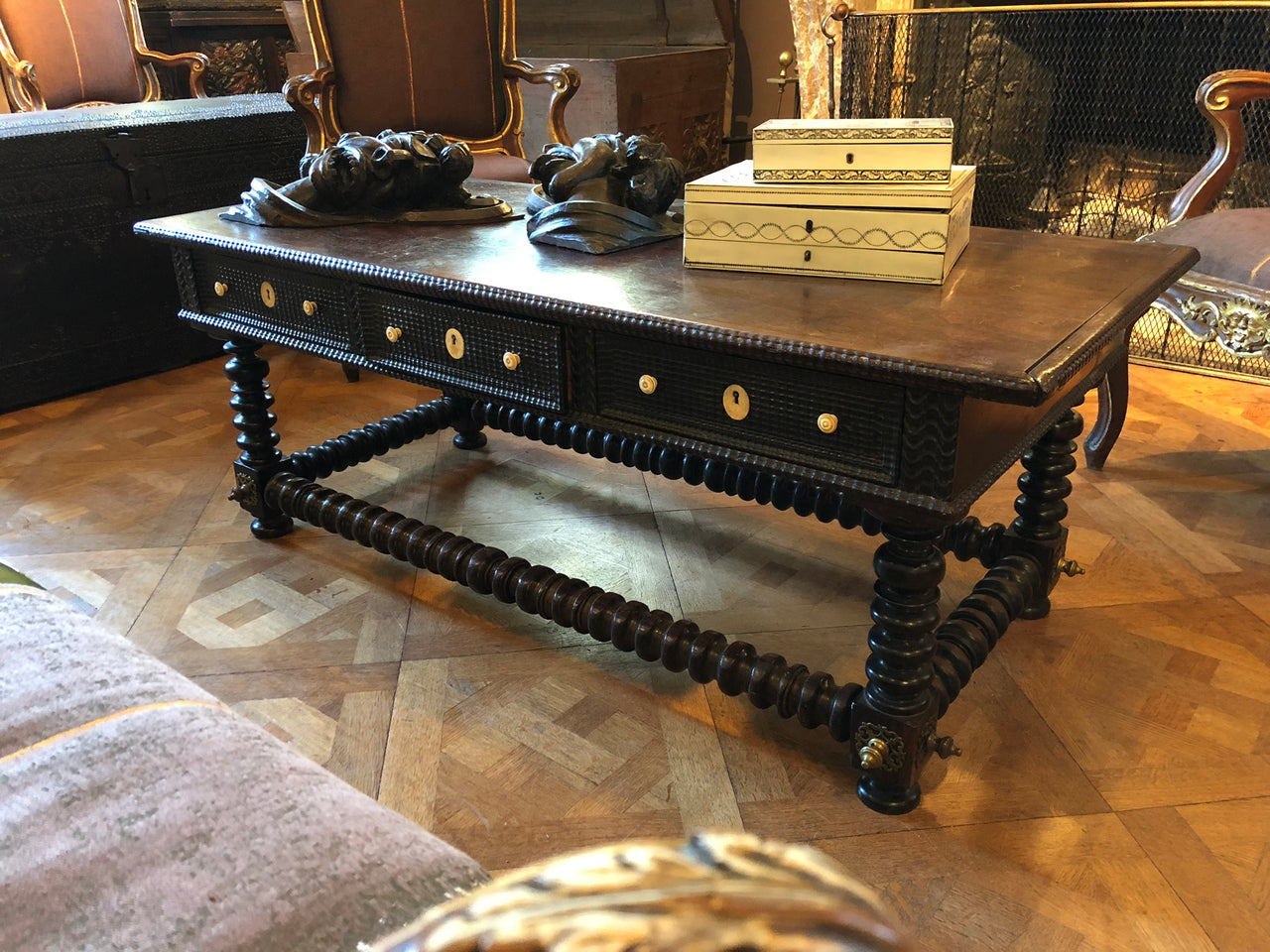 18th Century Portuguese brass-mounted rosewood Coffee Table