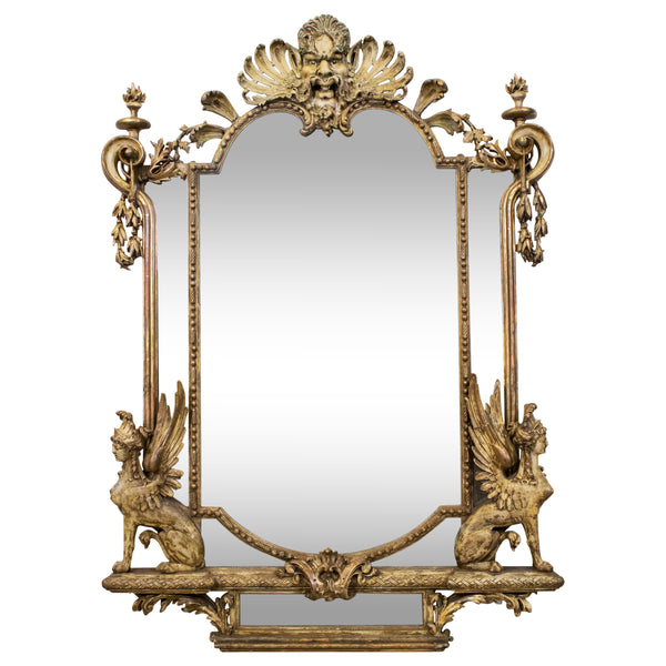 An imposing Napoleon III carved Giltwood and gesso Mirror