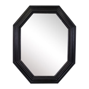 17th Century Style Dutch Ebonised Ripple moulded Octagonal Mirror
