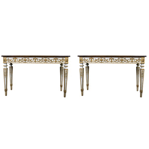 Pair of Vintage Louis XVI Style Console Tables