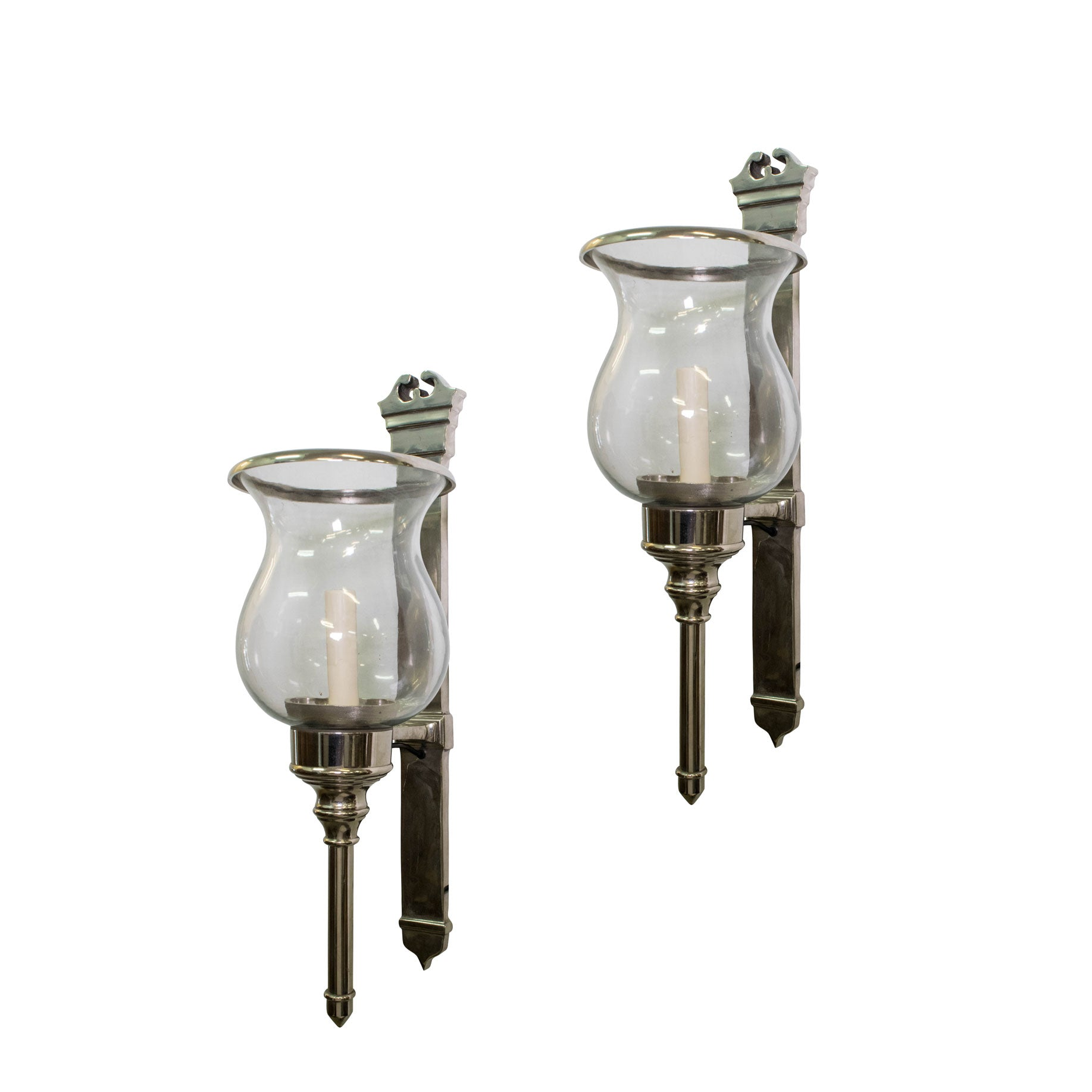 Pair of Nickel Finish Wall Sconces